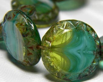 Glass Beads 15mm Semi Translucent Aqua Blue and Ivy Green Carved Coin Rounds - 10 Pieces