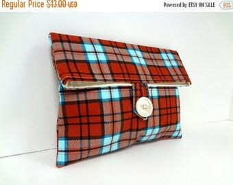 ON SALE READY To Ship Rust Orange and Turquoise Plaid Makeup Bag Bridesmaid Clutch Fall Wedding Foldover Cosmetic Bag