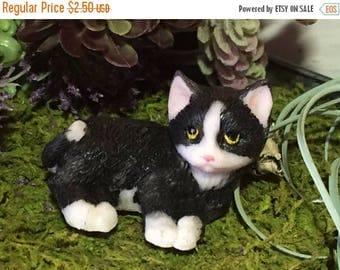 4th SALE Mini Kitten Figurine, Black and White, Fairy Garden Accessory, Home Decor, Topper, Gift, Kitty Cat Figurine Laying Cat