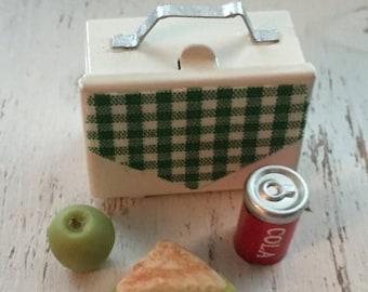LD SALE Miniature Lunch Box With Sandwich Pop and Apple Dollhouse Scale 1:12 Miniature 4 Piece Set