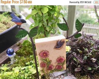 SALE Mini Robin Garden Flag with Post, Mini Sign, Metal Holder, Fairy Garden Accessory, Miniature Garden Decoration, Post and Flag Set