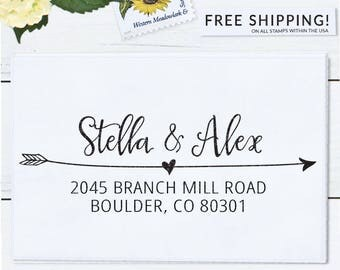 Self inking return address stamp, custom stamp, calligraphy wedding stamp, personalized address stamp - Stella