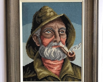 Vintage Fisherman Sailor Man with Pipe Framed Needlepoint Cross Stitch Crewel
