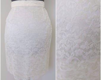 Vintage 1970s White Lace Mini Skirt - Waist 24