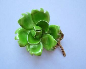 Vintage Bright Green Rose Brooch - Midcentury Costume Jewelry Pin - Enamel Pin