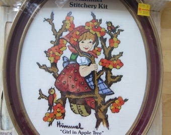 1970s Vintage Hummel Crewel Embroidery Kit by Gallery Crafts - Girl in Apple Tree