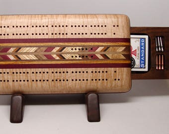 Cribbage Board, 2 Player, Up and Down, Maple (b)