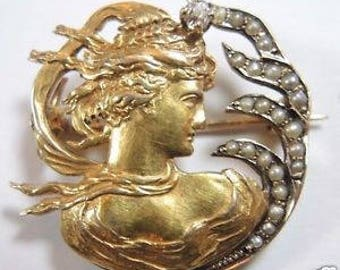 Antique Art NouVeau Pin 18K Yellow Gold Natural Diamond and Seed Pearls Vintage