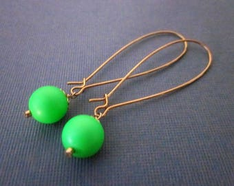 Bright Green Earrings -- Green Ball Earrings -- Neon Dangles -- Neon Drop Earrings -- Green Swarovski Pearl Earrings -- Neon Green Earrings