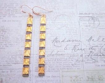 Black & Gold Bar Jewelry -- Statement Bar Jewelry -- Black Stripe Earrings -- Oxidized Gold Earrings -- Long Gold Bar Dangles -- Geometric