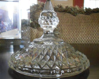Vintage Anchor Hocking Wexford Glass Candy Dish Lid, This is only the lid!, Replacement Piece,