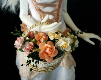 Sunrise Coral Basket of flowers for MSD, Gene, Tonner, SD BJD, Pullip, Blythe