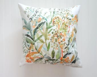 Greenery Watercolor Pillow Covers, Designer Fabric, 18x18, 20x20 or Lumbar
