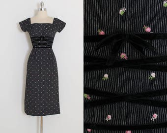 Vintage 50s Dress | 1950s rosebud embroidered dress | Mr Mort | black cotton | xs | 5941