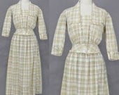 Edwardian Cotton Plaid Peplum Summer Walking Suit, Antique 1910s Skirt and Blouse, Small - Medium