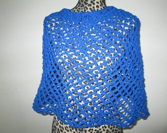Blue Poncho Skirt Crocheted by SuzannesStitches, Girls Blue Poncho, Teen Blue Skirt, Crochet Poncho, Acrylic Skirt, 60's Poncho, Girls Skirt