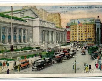 Public Library Fifth Avenue New York City NY 1924 postcard
