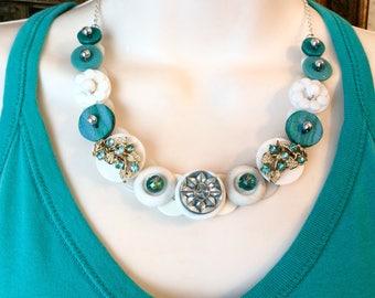 Turquoise Temptation Button necklace