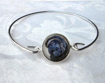 Black Shih Tzu Bangle Bracelet ~ Girlfriend Gift ~ Wire Bangle ~ Dog Jewelry ~ Shih Tzu Jewelry