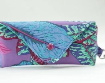 NEW Glasses case/ Eyeglasses case/ sunglasses case/ reading glasses case/green purple blue leaves/Philip Jacobs