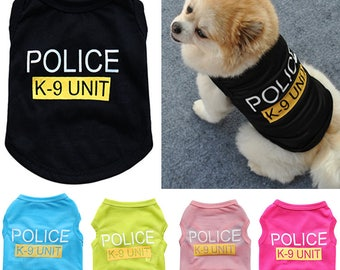 Halloween Pet Clothes Dog Cat T-Shirt Personalized Police Costume