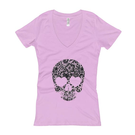 Lace Skull Women's V-Neck T-shirt