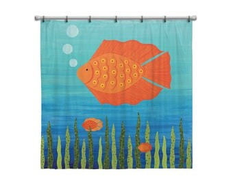 Shower Curtain for Kids Bathroom from Hand Painted Images - Under the Sea Ocean Theme Fish - Children's Bath Decor