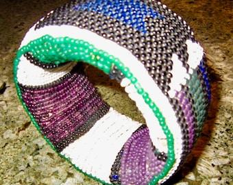 "HUGE Antique Beaded Boho Bracelet Purple Green White 2"" Wide Primitive Chic!"