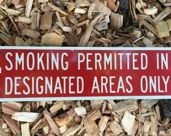 Vintage Smoking in Designated areas Only Sign