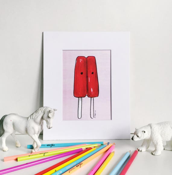 Red Popsicle Print on Pink, Silly Food Art