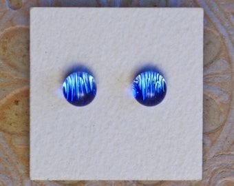 Dichroic Glass Earrings, Light Sky Blue  DGE-1204