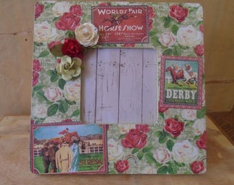 Graphic 45 Off To The Races Horse Derby Decoupaged Picture Frame