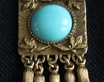 Boho Style Pin w/ Turquoise Glass Accents