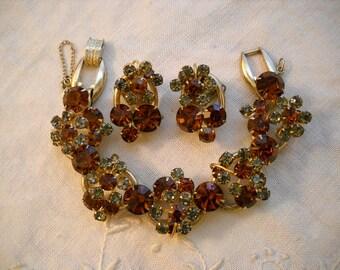 Vintage Juliana Bracelet & Earrings Set Topaz Grey Rhinestone Demi Parure FREE SHIPPING