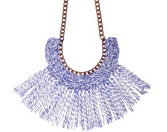 Blue necklace , fan bib necklace, textile statement necklace , crochet jewelry, bold Tassel Necklace new naama brosh free shipping