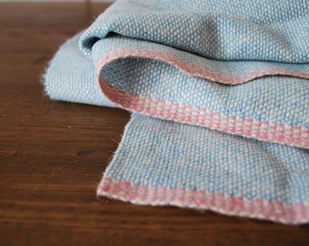 Vintage wool blanket fabric woven baby blue pink trim 90 x 60