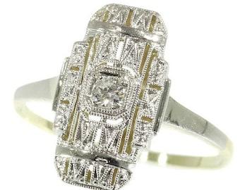 ON SALE Diamond Art Deco elongated ring 14k gold old European cut diamond 1920s