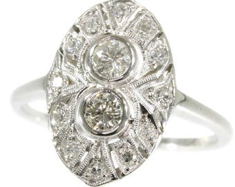 Oval two diamond engagement ring 14k white gold brilliant cut diamonds .50ct Art Deco ring 1920s jewelry