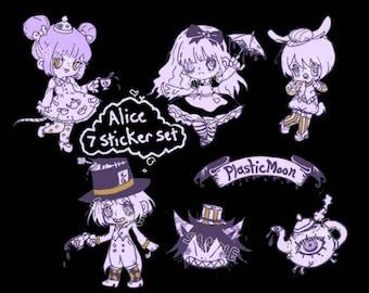 Plasticmoon Alice Sticker Set, Art Sticker Set, Tea Party Sticker Set, Gothic Lolita Artwork, Mad Hatter Sticker Set, Vinyl Art Stickers