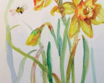 Daffodils and Bee original 12x9 watercolor painting Art by Delilah