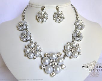 White Pearl Bridal Jewelry Set Crystal Wedding Necklace Earrings Vintage Inspired Prom Evening Pageant Jewelry