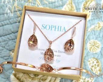 Vintage Rose Crystal Bridesmaid Gift, Rose Gold Bridesmaid Jewelry Set, Personalized Bridesmaid Earrings, Necklace and Bracelet Set