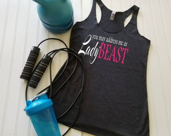 Workout Tank Top, Running tank top, Fitness tank top, Gym tank top, Lady Beast, FREE Shipping!!