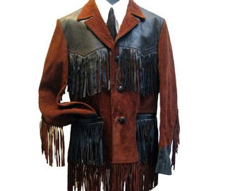 Mens Western Fringe Cowboy Jacket Vintage Preowned Brown Suede with Black Leather Fringed Coat Fits MNS Size 40