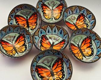 Medium Ceramic Monarch Butterfly Cereal Bowl  - Majolica Pottery Bowl - Boyfriend / Girlfriend Gift - Serving salad Bowl -  Mandala  Design