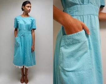 50s Apron Dress  //  Cotton Seersucker Dress  //  Candy Striper Uniform  //  THE FROLIC