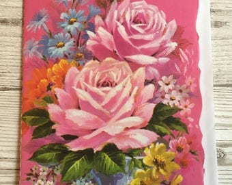 Vintage Mother's Day Card, Pink Roses, 1970's, Unused