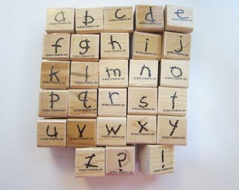 rubber stamps - CRAYON FUN ALPHABET lower case - Stampin Up 2002 - used rubber stamp