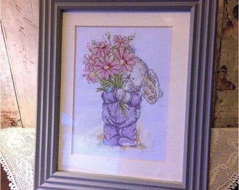 Love Bunny Flowers for Mum Framed Cross Stitched Picture