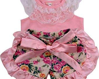 Lacy Pink Tank  + Satin Ruffled Shorts Summer Set